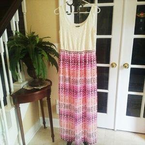 Chiffon and Lace Maxi Dress by Lily Rose M